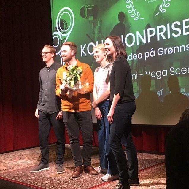 ….GRATULERER , Jørgen Klüver som vant Kollisjonsprisen for musikkvideoen Desucon (av Rsp og Thamax). Foto: @gronnskjerm