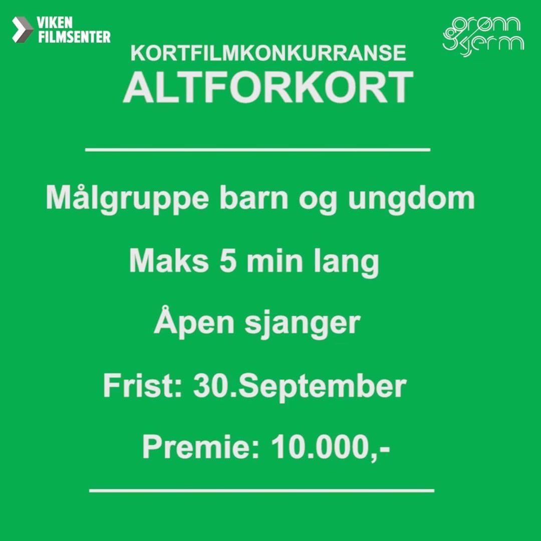 I år samarbeider vi med @gronnskjerm om kortfilmkonkurransen ALTFORKORT.  Send inn film på maks 5 minutter, med målgruppe barn og unge, innen 30. september for å delta.  Vår film- og spillkonsulent, Cecilie Stranger-Thorsen, er en av de heldige som får lov til å sitte i juryen🌼  Det blir finalevisning på @vegascene i Oslo 23. oktober. . . . . . . . #altforkort #kortfilmkonkurranse #Vikenfilmsenter #vikenung #kortfilm #grønnskjerm  #vegascene